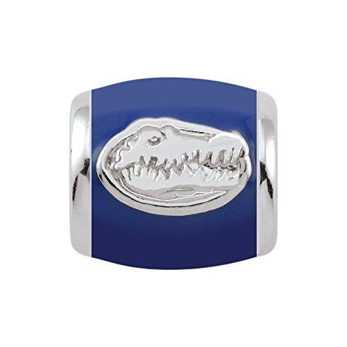 Persona Sterling Silver University of Florida Gator Head Blue Enamel Bead Charm