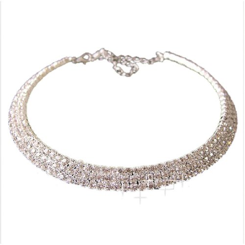 3 Rows Diamante Rhinestone Collar Choker Necklace Bridal Wedding Jewellery