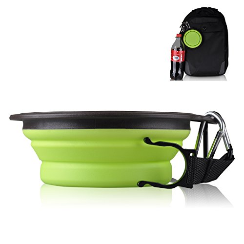 Travel Dog Bowl,Pet Collapsible Food Water Bowls,Traveling Camping Hiking Portable Feeder Dish-With Free Carabiner Belt Clip+Water Bottle Holder-High Quality Improved Version(Green,1.5 Cup) By Petutu