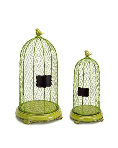 Melrose Set of 2 Mesh Dome Bird Cage With Chalkboard, Lime Green