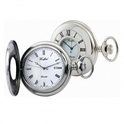 Chrome Plated Swiss Quartz Half Hunter Pocket Watch 1212