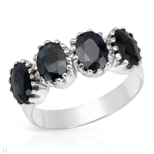 Ring With 3.20ctw Genuine Sapphires Well Made in 925 Sterling silver (Size 7.5)