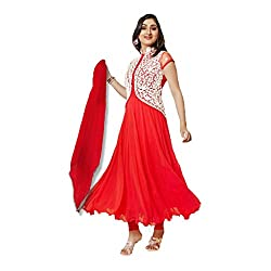Red Georgette Embroidered Semi Stitched Anarkali Suit