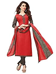 Women Icon Presents Red Embroidered Un-Stitched Dress Material WICKFBRCZB1006