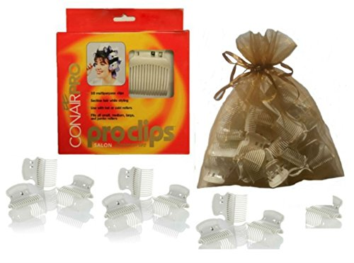 Conair Proclips Salon Hot Roller Accessories, Vent Clamps, Hot or Cold Roller Clips, Jumbo Roller Clamps, Butterfly Clamps, Super Clips 10 Clips Per Box (Conair Hot Roller Clips compare prices)