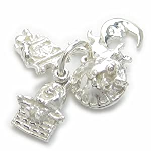 Nursery Rhyme baby set of 4 tiny sterling silver charms on a single ring EC1844 by Maldon Jewellery