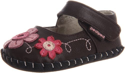 Pediped Originals Sadie Mary Jane Crib Shoe (Infant),Brown,Small (6-12 Months)