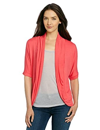 AGB Women's Cozie Cover-Up Dolman Sleeve Soft Knit Top, Watermelon, Large