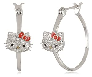 Hello Kitty 1/5 Cttw Pave Diamond Face and Red Enamel Bow Girl's Hoops Earrings from Hello Kitty