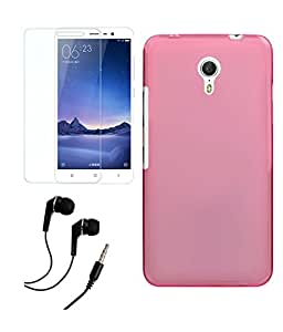PRINTZ Yu Yunicorn Soft pink Back cover case With Tempered Glass Screen Protector Glass screen guard & 3.5mm Earphone with Mic combo