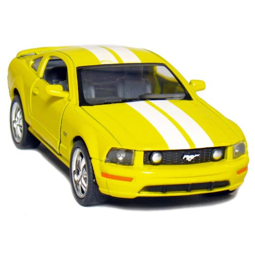 "5"" 2006 Ford Mustang GT with Stripes 1:38 Scale (Yellow) - 1"