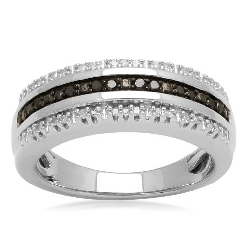 Sterling Silver Black and White Diamond 3-Row Band Ring (1/7 cttw, I-J Color, I2-I3 Clarity), Size 7