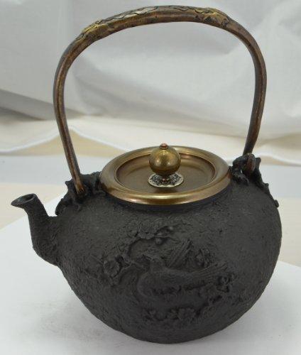 Cast Iron Tea Pot (Teapot) / Tea Kettle (Teakettle) - Magpie & Plum Blossom, Black