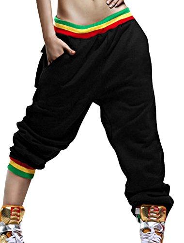 Allegra K Women Elastic Waist Stripes Detail Loose Hip Hop Trousers Black Xs