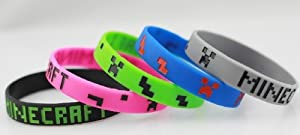 Set of 5 Colors Minecraft Creeper Bracelet Wristbands