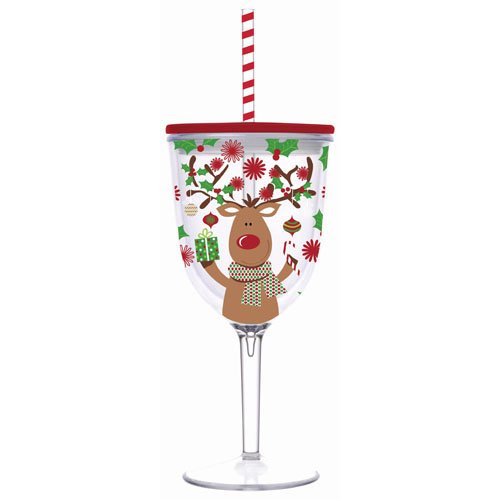 Insulated Wine Glass With Straw