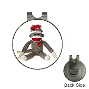 Magnetic Golf Ball Marker Hat Clip Sitting Sock Monkey