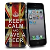 Accessory Master- Plastic Cover Case for Apple iPhone 5S - United Kingdom Flag Vintage ' KEEP CALM AND HAVE A BEER '