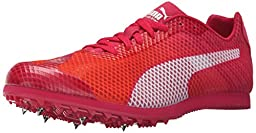 PUMA Women\'s Evospeed Star V4 Track Spike Shoe, Fluorescent Peach/White/Rose Red/White, 7.5 B US