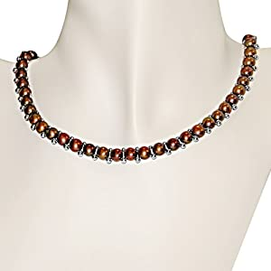 Silver 6-7mm Brown FW Button Pearl Necklace
