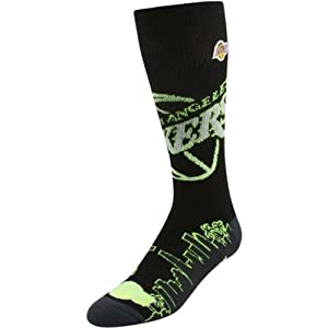 Los Angeles Lakers NBA Basketball City Lights Crew Socks Size Large by For Bare Feet