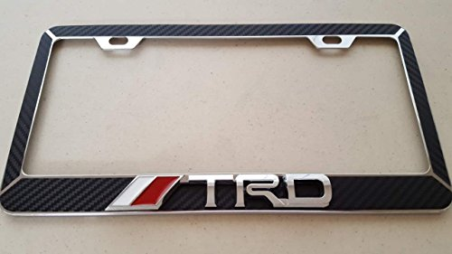 Toyota TRD Chrome 3D on Black Carbon Fiber Style Chrome Metal License Frame (Black Trd License Plate Frame compare prices)