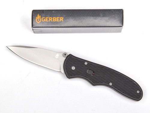 "Gerber Fast Draw Spring Assisted Fine Edge Knife -Folding Style - 2.99"" Blade - Fine Edge - Drop Point - High Carbon Stainless"