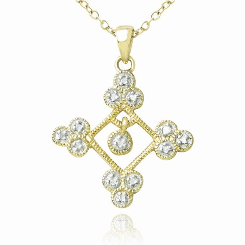 18k Yellow Gold Plated Sterling Silver Genuine Diamond Accent Cross Pendant Necklace , 18