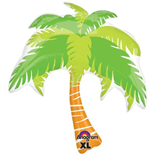 "Anagram Hawaiian Tropical Island Luau Palm Tree SuperShape 33"" Foil Balloon"