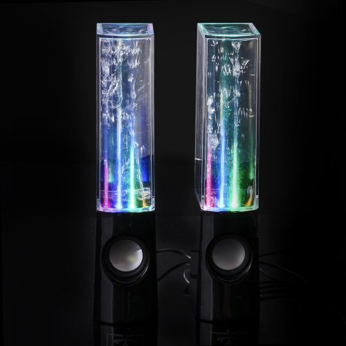 Usb Music Fountain Led Amplifier Dancing Water Dance Speakers For Pc Laptop Mp3 Mp4 Psp Cellphone Iphone Samsung Ipad Ipod (Black)