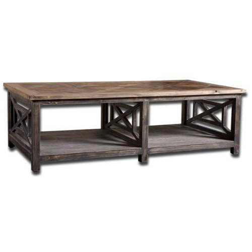 Uttermost 24264 - Reclaimed Wood Cocktail Table - Brushed Black And Natural Wood Finish - Spiro Collection