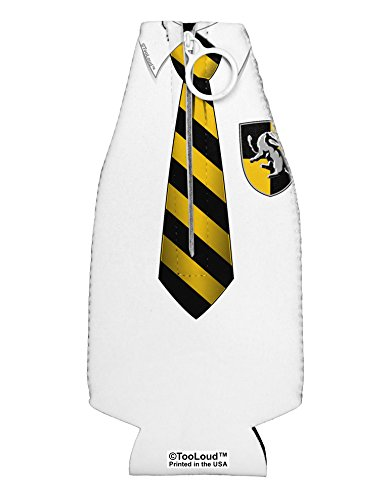 TooLoud Wizard Uniform Yellow and Black AOP Collapsible Neoprene Bottle Insulator All Over Print
