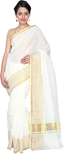 Samskruti  Sarees Women Kasavu Kerala Cotton Border Saree (SKCB-2,Off-White)