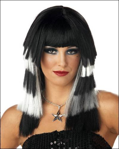 Club Chaos Black/WHITE Costume Wigs - 1