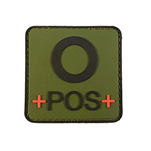 Olive Drab OD Green OPOS O+ Groupe Sanguin Tactical Combat PVC Gomme 3D Velcro Écusson Patch