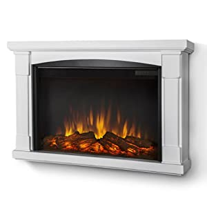 LINE Wall-hung Electric Fireplace in White-Mantel only: Home & Kitchen