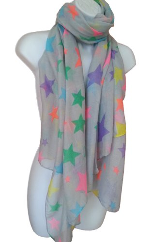 STAR PRINT SCARF OverSize Fashion Grey Scarves Multi Colour Stars images