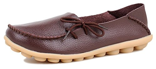 Century Star Women's Casual Boat Shoes Leather Lace-Up Loafer Flats Coffee 9 B(M) US (Bar Nine Coffee compare prices)