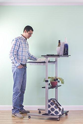 vivo mobile height adjustable stand up desk computer work station rolling pres ebay. Black Bedroom Furniture Sets. Home Design Ideas