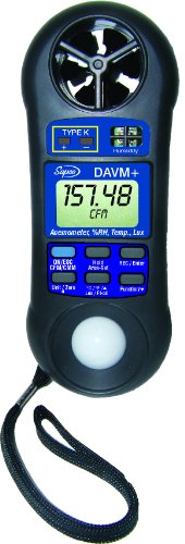 Supco DAVM+ Digital Air Flow Meter, Vane Anemometer, Thermometer, Hygrometer, Light Meter - 1
