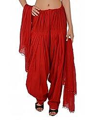 Stylenmart Women Red Patiala Salwars And Dupatta Set