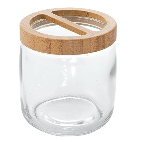Interdesign kane glass toothbrush holder clear natural for Clear bathroom accessories