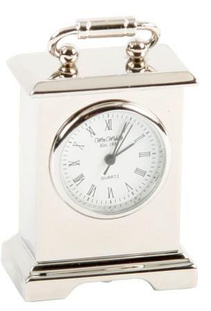 Miniature Silver Plated Oblong Carriage Clock in a Gift Box that can be Personalised FREE ENGRAVING