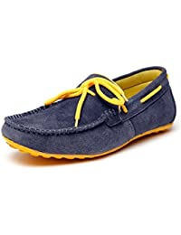 BACCA BUCCI MEN NAVY BLUE GENUINE LEATHER LOAFERS