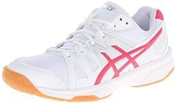 ASICS Women\'s Gel Upcourt Volleyball Shoe,White/Raspberry/Silver,11 M US