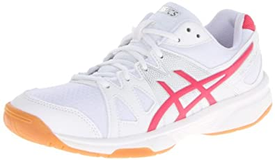 ASICS Women's Gel Upcourt Volleyball Shoe,White/Raspberry/Silver,5 M US