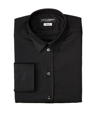 Dolce & Gabbana Men's Narrow Collar Gold Shirt  [Black]