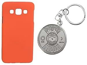 XUWAP Hard Case Cover With 50 Years Calender KeyChain For Samsung Galaxy E7 - Orange
