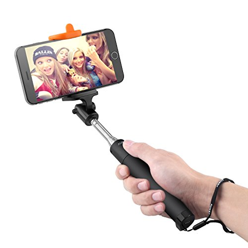 Aukey Bluetooth 自撮り棒 セルフィースティック セルカ棒 自撮りシャッターボタン付 手元でワンタッチ撮影 iPhone6S/Androidなど対応 (ブラック)HD-P7
