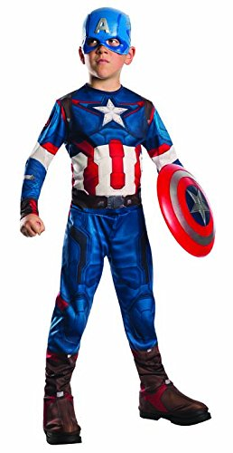 Capitán América - Set con disfraz y máscara,  5-7 años (Rubies 610424-M)